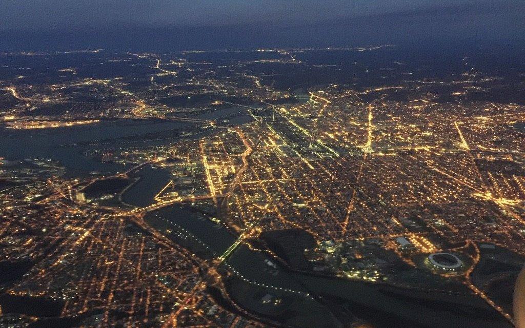 Aerial of New York City at Night